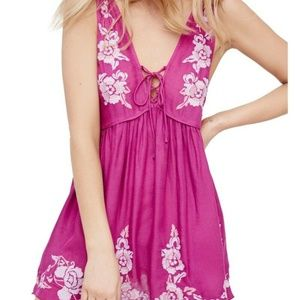 Free People Aida Embroidered Slip Pink Dress XS